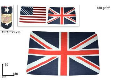Caldo e morbido plaid con disegno bandiere, 130x180 cm.