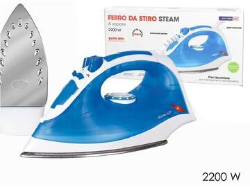 Ferro da stiro a vapore con piastra in acciaio inox, 2200W, color blu. La confezione anche un pratico bicchiere per il riempimento del serbatoio.
