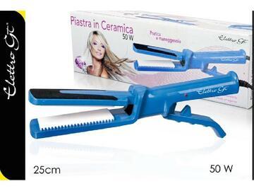 Piastra per capelli, 50W, color azzurro. Pratica e maneggevole.