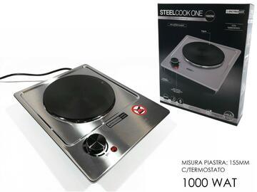Fornello elettrico Steel Cook One, 1000W, in acciaio.