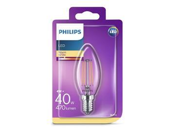 Lampadina a candela led, in vetro trasparente e con filamenti in vista, 40W, E14, 2700K.