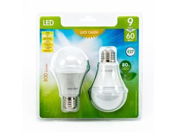 2 Lampadine LED A60 9W E27 a luce calda