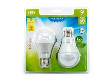 2 Lampadine LED A60 9W E27 a luce fredda
