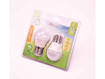 2 Lampadine LED G45 4W E27 a luce calda