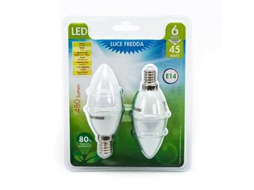 2 Lampadine LED C37 6W E 14 a luce fredda