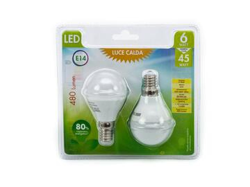 2 Lampadine LED G45 6W E14 a luce calda