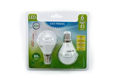 2 lampadine LED G45 6W E14 a luce fredda