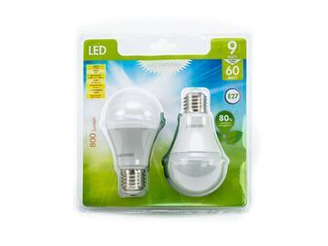 2 Lampadine LED A60 E27 a luce naturale.
