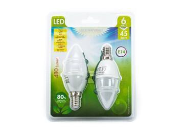 2 Lampadine LED C37 E14 a luce naturale.
