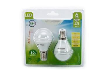 2 Lampadine LED G45 E14 a luce naturale.
