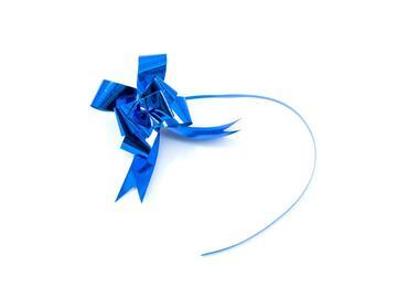 10 fiocchi blu metallizzato 2,8x47 cm