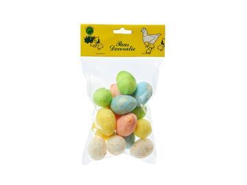 15 Uova di Pasqua decorative in polistirolo colorate, 3 cm