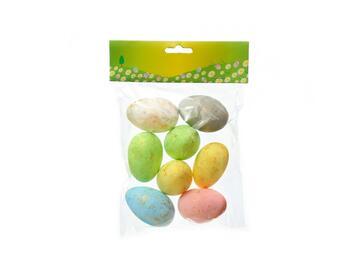 8 Uova di Pasqua decorative in polistirolo colorate, 6 cm