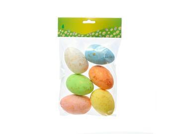 6 Uova di Pasqua decorative in polistirolo colorate, 7 cm