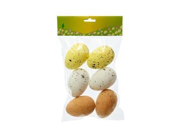 6 Uova di Pasqua decorative in polistirolo colorate natural, 7 cm