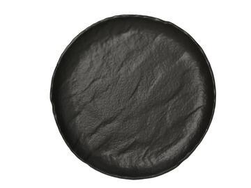 Piatto piano Vulcania nero, 25 cm, in porcellana.