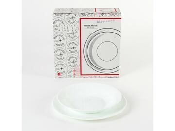 Classico servizio di piatti White Moon in porcellana, da 12 pezzi, color bianco.