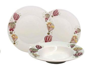 Servizio di piatti in porcellana, da 12 pezzi, in fantasia mongolfiere.