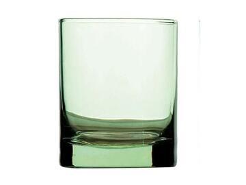 3 Bicchieri Iride verde da acqua, in vetro.
