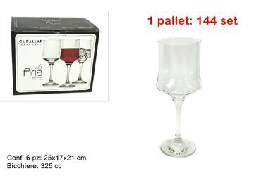 Confezione da 6 bicchieri Aria da acqua, in vetro, 325 cc.