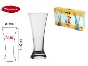 3 Bicchieri birra da pub 36 cl