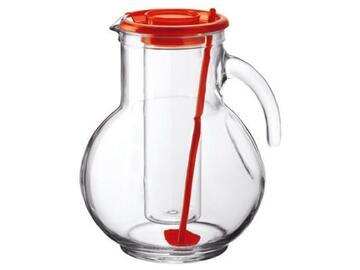 Brocca Krufa con portaghiaccio, in vetro.