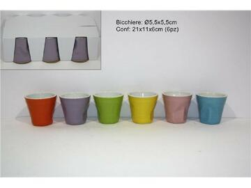 Confezione da 6 tazzine da caffe in colori assortiti, 50 cl.