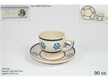 Confezione da 4 tazzine da caffe con piattini, in fantasia crema con fiorellini celesti.
