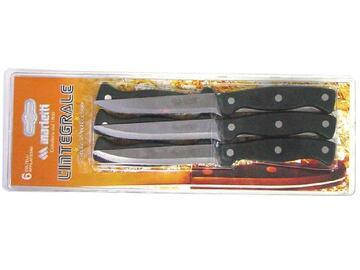Set da 6 coltelli da bistecca linea integrale.lama seghettata in acciaio inox