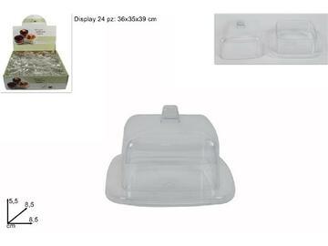 Coppetta in plastica monoporzione quadrata, con coperchio.