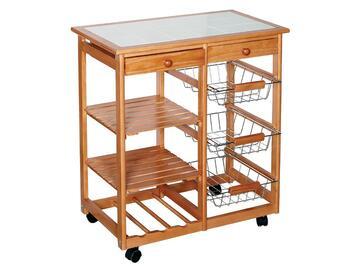 Carrello da cucina con doppio piano di lavoro piastrellato e numerosi ripiani per ogni tua esigenza!
