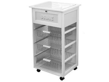 Pratico carrello portapane. Ideale per ogni cucina!  Colore bianco.