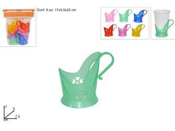 Portabicchiere in plastica in vari colori, confezione da 6 pezzi.