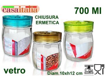 Barattolo in vetro da 0,7 litri con chiusura ermetica