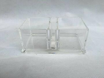 Portaoggetti trasparente doppio scomparto