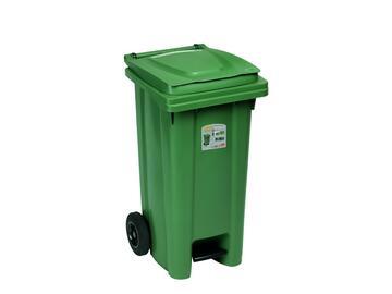 Bidone 120 Lt verde con pedale