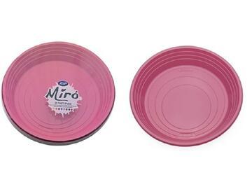 Piatti Miro monouso, colore rosa. Confezione da 25 pezzi.