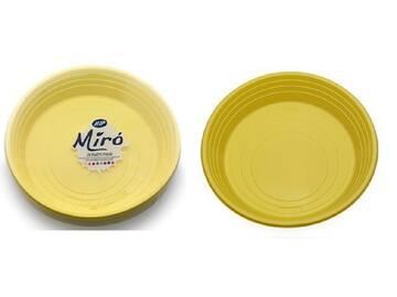 Piatti Miro monouso, colore gialli. Confezione da 25 pezzi.