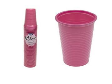 Bicchieri Miro monouso 200CC, colore rosa. Confezione da 50 pezzi.