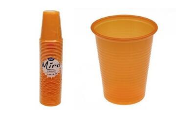 Bicchieri Miro monouso 200CC, colore arancione. Confezione da 50 pezzi.