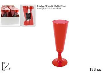 Flute in plastica, color rosso. Confezione da 6 pezzi.