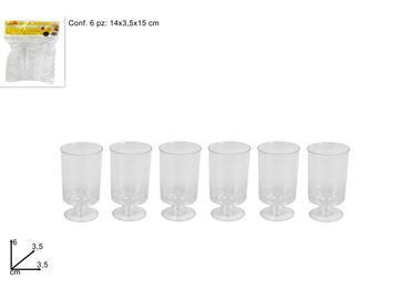 Bicchierini monouso in plastica. Confezione da 6 pezzi.