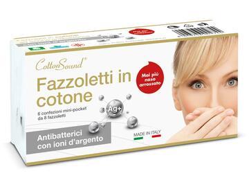Confezione da 6 pezzi di fazzoletti in cotone Astissu, antibatterici con ioni d'argento