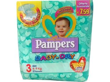 Pannolini Pampers baby dry medi 21 pezzi