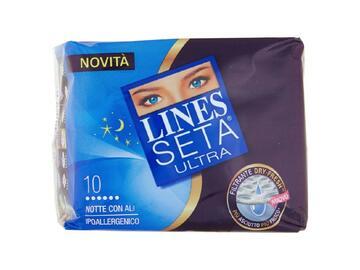 Assorbenti ipoallergenici Lines Seta Ultra notte con ali 10 pezzi