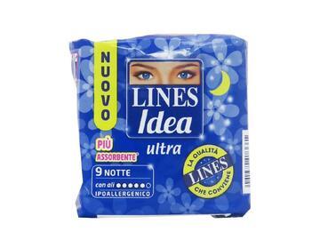 Assorbenti ipoallergenici Lines Idea Ultra notte con ali