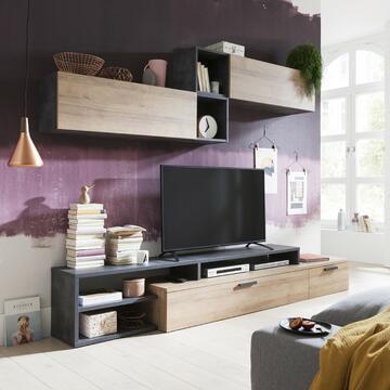 Soggiorno a parete moderno stile Rovere e grigio! Composto da base TV e mobile pensile.