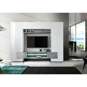 Soggiorno a incastro moderno in finitura bianco beton. Struttura ad architrave, con mensola, tre ante e ripiano interno in vetro.
