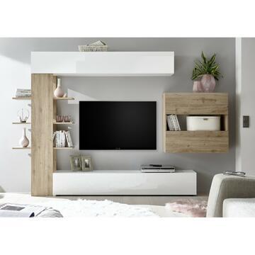 Soggiorno Sorano elegante in finitura bianco rovere ,dotato di pi¨ ante, libreria sospesa e mensole