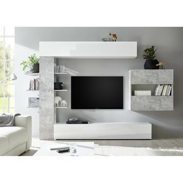 Parete soggiorno Sorano Bianco/Cemento con molteplici ante e ripiani